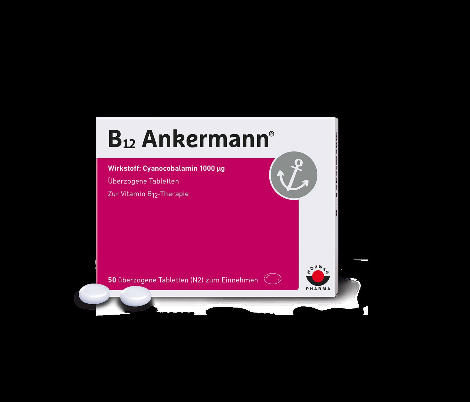 B12 Ankermann® Tabletten bei Vitamin B12-Mangel.