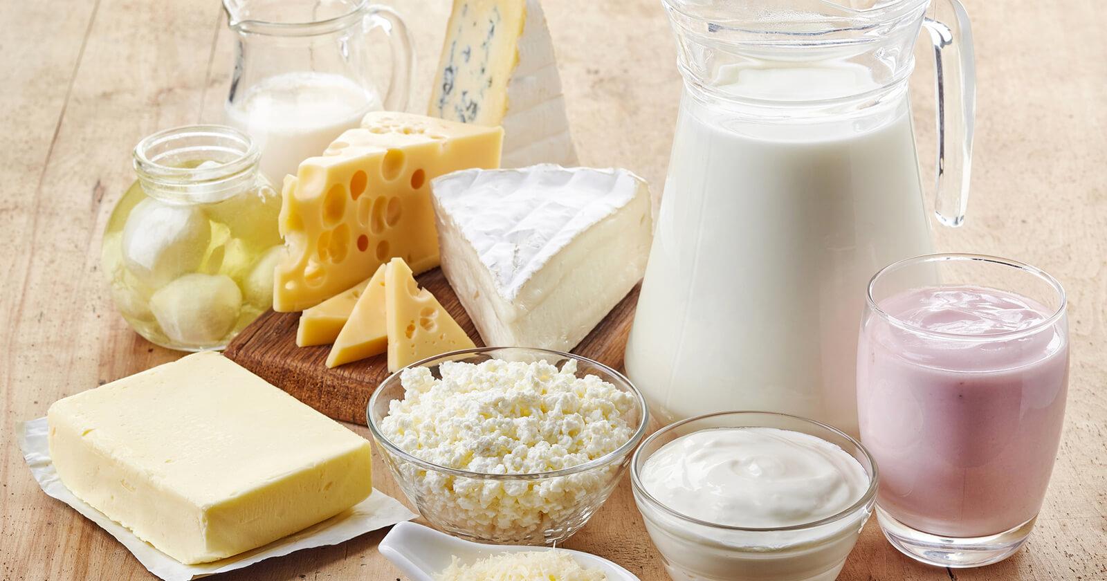 Verschiedene Milchprodukte, die Calcium enthalten.
