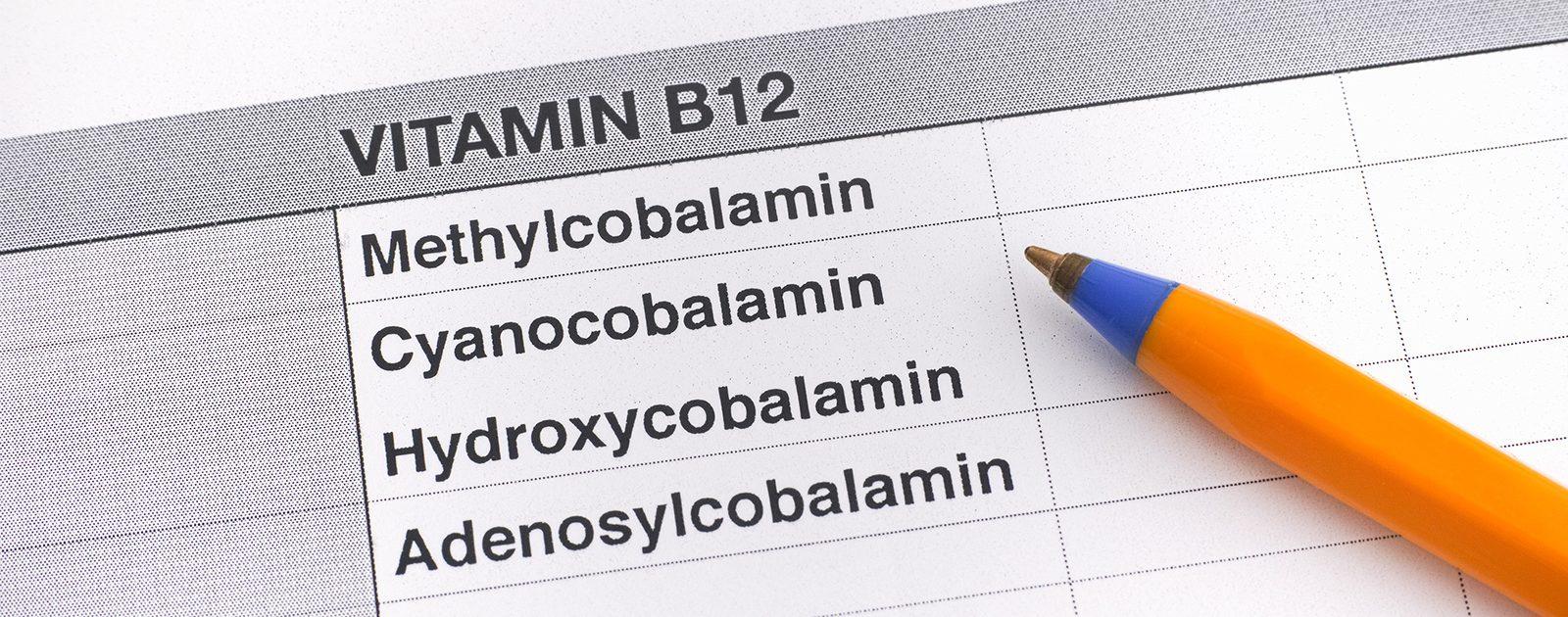 Auflistung unterschiedlicher Formen von Cobalamin